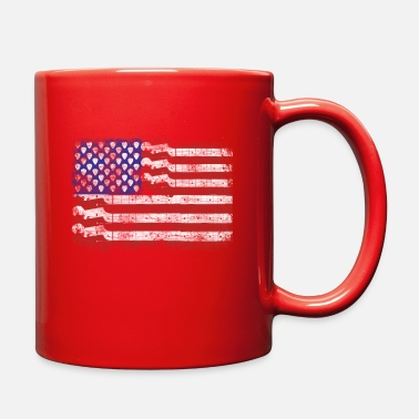 American Flag &amp Guitar American Rock Gift US Flag Rock Guitars Con - Full Color Mug