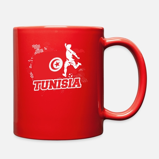 Tunisia Mugs & Drinkware - Football Soccer Tunisia Flag - Full Color Mug red
