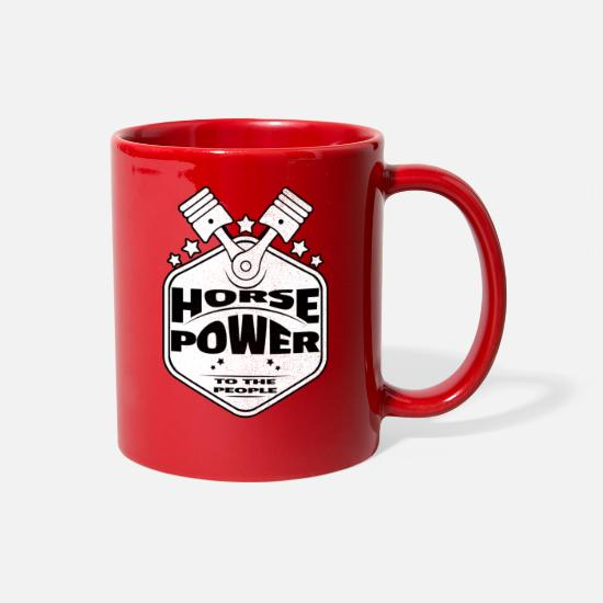 Horsepower Mugs & Drinkware - Horsepower To The People - Pistons - Racing Design - Full Color Mug red