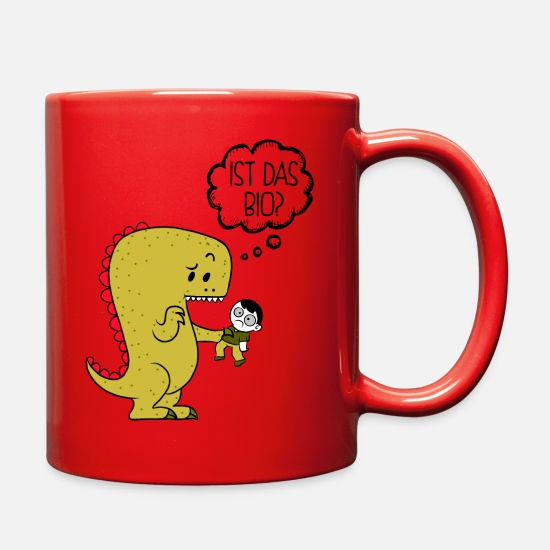 Bio Mugs & Drinkware - bio dinosaurier vegan gesund dino hirnlos shirt - Full Color Mug red