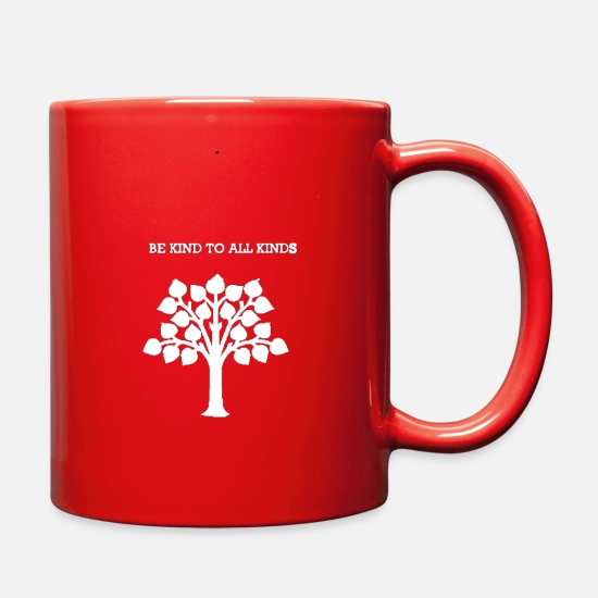 Birthday Mugs & Drinkware - Kind,nature,vegan,organic,healthy living,fun,shirt - Full Color Mug red