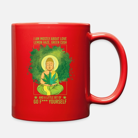 Marijuana Mugs & Drinkware - Kiffer T-Shirt Buddha 420 Yoga For Men - Full Color Mug red