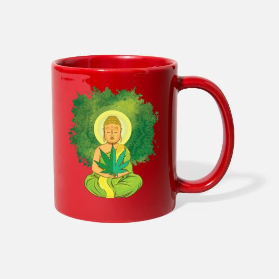 Spliff Mugs & Drinkware - Kiffer T-Shirt Buddha 420 Yoga For Men - Full Color Mug red