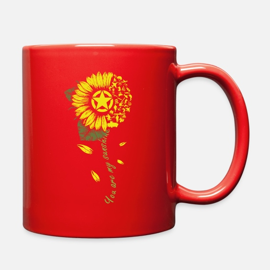 Religious Mugs & Drinkware - Army You are My Sunshine Sunflower T shirt Merch - Full Color Mug red