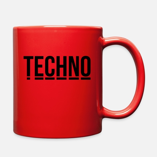 Techno Mugs & Drinkware - techno music club minimal Detroit Sound DJ Djane - Full Color Mug red