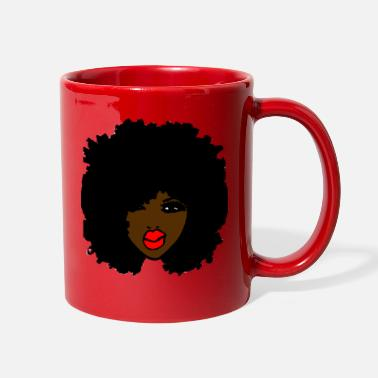 Afro Kinky Afro Brown Skin Curly Natural Hair Red Lips - Full Color Mug