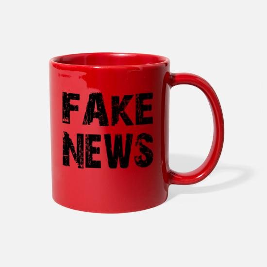 Newspaper Mugs & Drinkware - FAKE NEWS, fake news shirt - Full Color Mug red