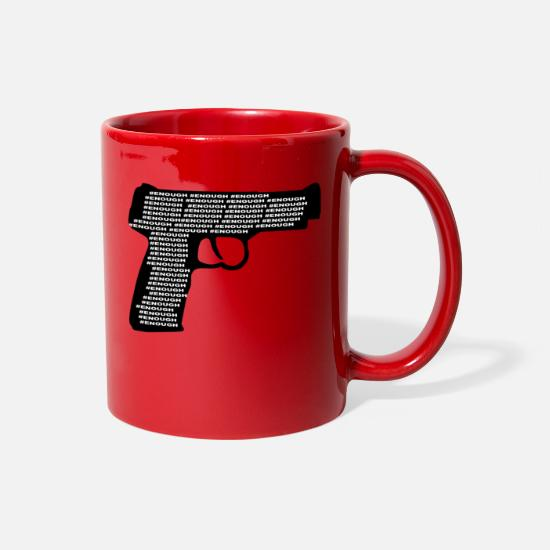 Enough Mugs & Drinkware - wordtease ENOUGH GUN VIOLENCE silhouette - Full Color Mug red