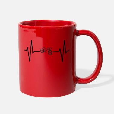 Cycling Heartbeat bike ekg pulse gift shirt - Full Color Mug