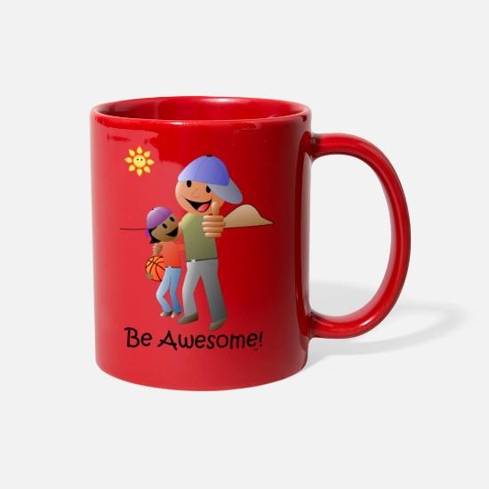 Love Mugs & Drinkware - Be Awesome Cartoon - Full Color Mug red