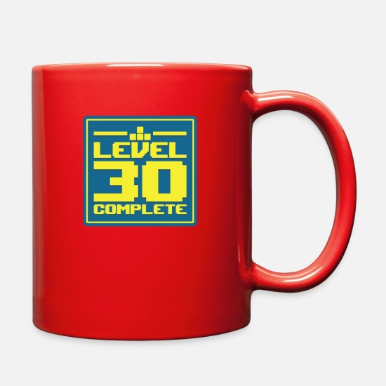 Birthday Mugs & Drinkware - Level 30 Complete | Birthday Video Games Gaming - Full Color Mug red
