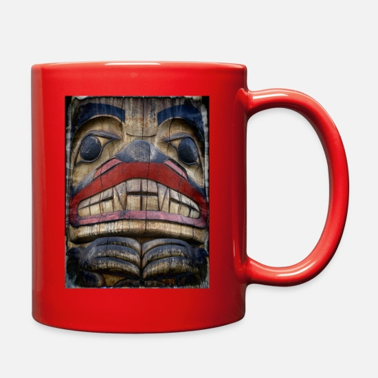 Pacific Mugs & Drinkware - Pacific Northwest Native American Indian Bear Tote - Full Color Mug red