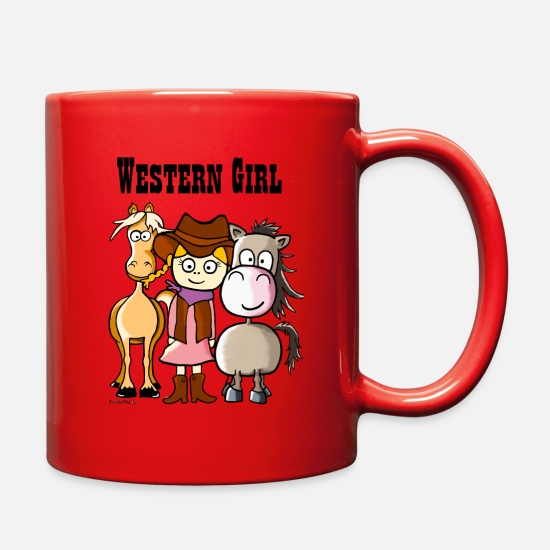 Two Mugs & Drinkware - Western Girl with Quarter Horse and Palomino - Full Color Mug red