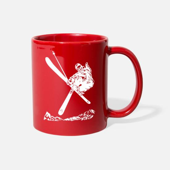 Ski Mugs & Drinkware - Skiers on the ski slopes in a sporty and fast way - Full Color Mug red