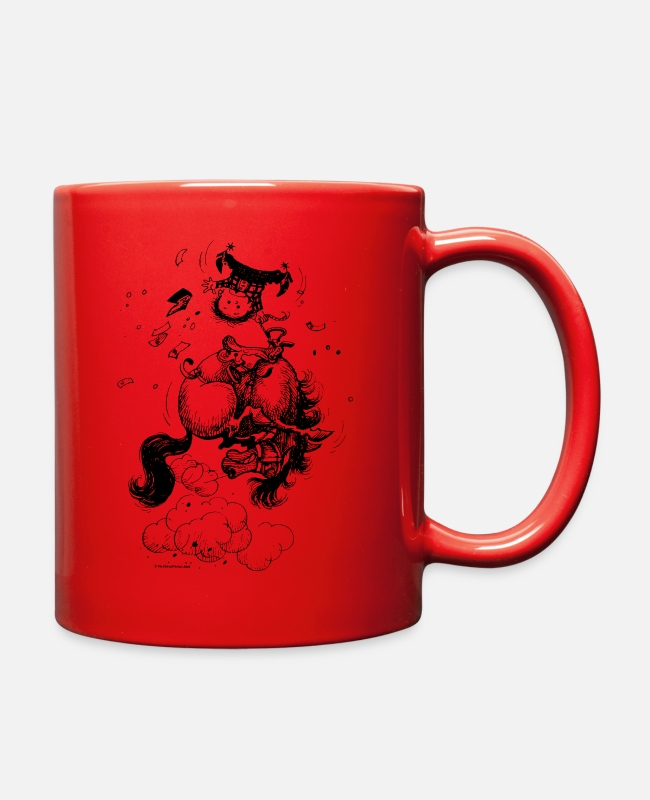 Riding Academy Mugs & Cups - Thelwell Jumping Rodeo Western Pony - Full Color Mug red