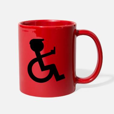Accident wheelchair user holding up the middle finger - Full Color Mug