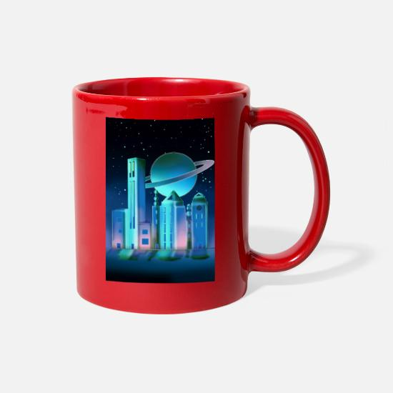 Timetravelcontest Mugs & Drinkware - Galaxy City - Full Color Mug red