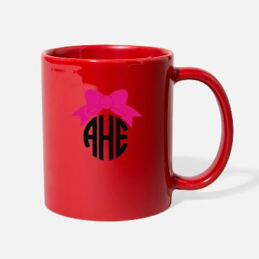 Monogram Bow Circle Monogram - Full Color Mug