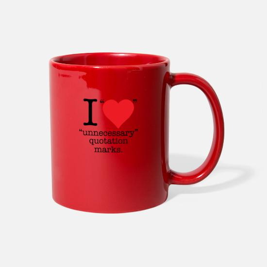 Quotation Mugs & Drinkware - I Love Unnecessary Quotation MArks - Full Color Mug red