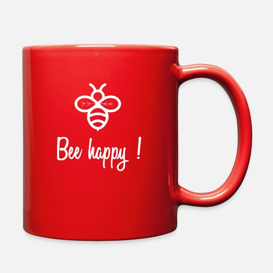 Happy Holidays Mugs & Drinkware - bee happy1 - Full Color Mug red