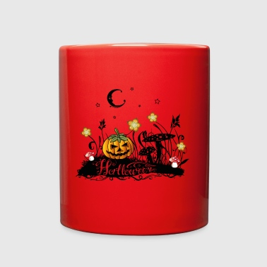 Halloween Horror, meadow with fly agarics, pumpkin - Full Color Mug
