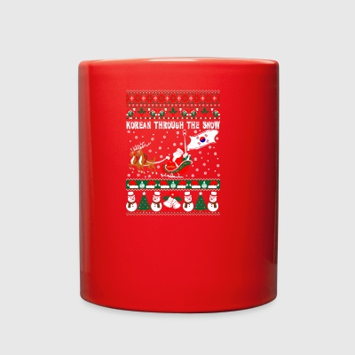 Korean Through The Snow Ugly Christmas Sweater - Full Color Mug