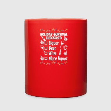 Holiday Survival Checklist Beer Wine Christmas - Full Color Mug