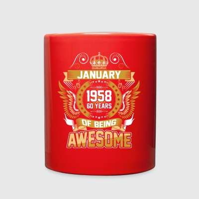 January 1958 60 Years Of Being Awesome - Full Color Mug