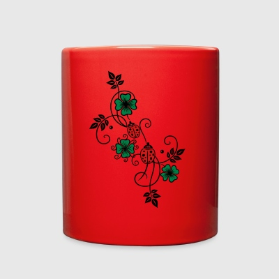 Tendril with shamrocks and ladybirds. - Full Color Mug