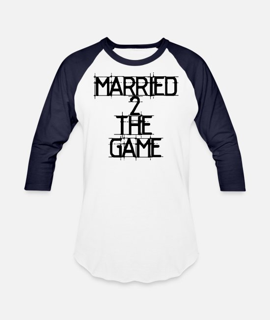Rap T-Shirts - MARRIED 2 THE GAME - Unisex Baseball T-Shirt white/navy