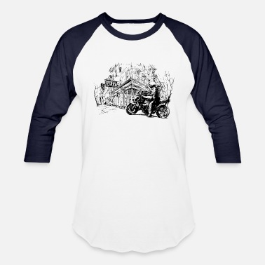 Old Town Art, biker in old town - Unisex Baseball T-Shirt