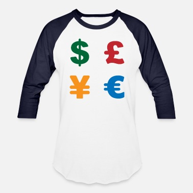 Currency Dollar, pound, yen, euro | Currency symbol - Unisex Baseball T-Shirt