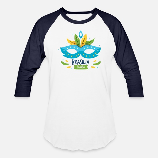 Birthday T-Shirts - Brazil - Beautiful Samba Festival Shirt Design - Unisex Baseball T-Shirt white/navy
