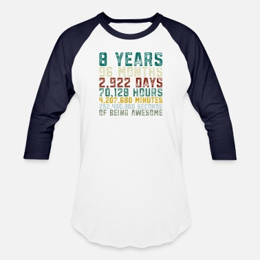 8 Vintage 8 Years Old 8th Birthday Boy Girl - Unisex Baseball T-Shirt
