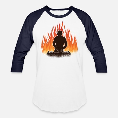 DJ With Fire And Flames - Unisex Baseball T-Shirt