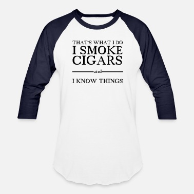 Wound Up I smoke cigars and I know things smart - Unisex Baseball T-Shirt