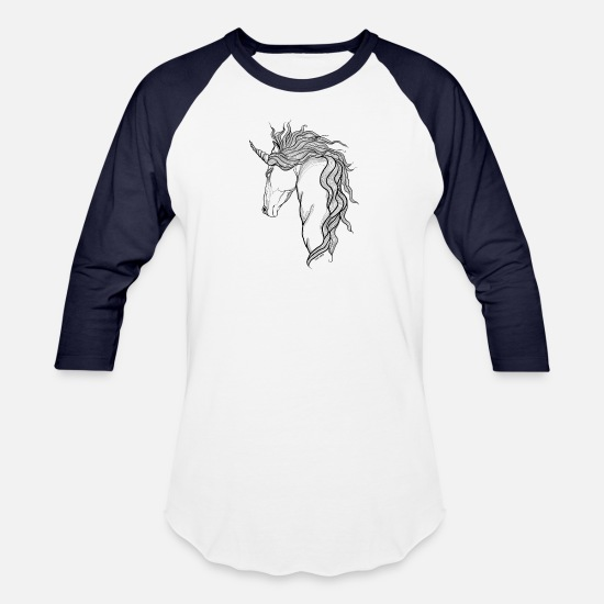 Doodle T-Shirts - A mythical Unicorn - Unisex Baseball T-Shirt white/navy