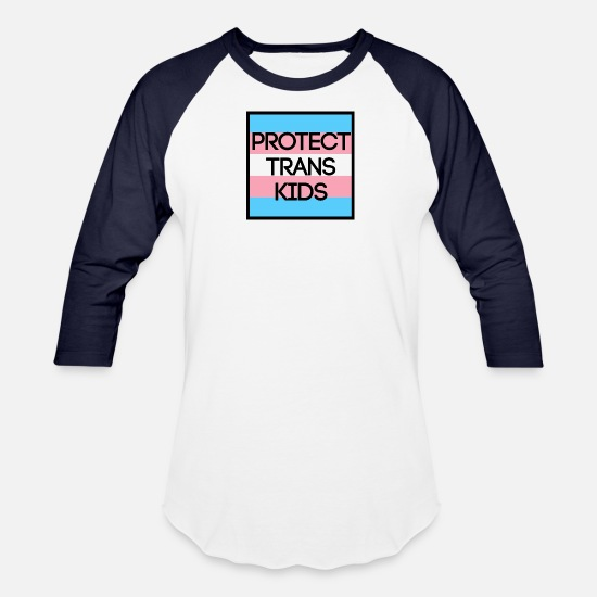 Usa T-Shirts - PROTECT TRANS KIDS - Unisex Baseball T-Shirt white/navy