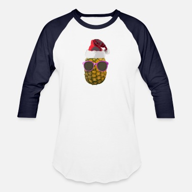Hawaiian Food Funny Hawaiian Christmas Ananas Santa Hat Gift - Baseball T-Shirt