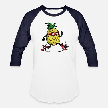 Skating Pineapple Roller Skates - Unisex Baseball T-Shirt