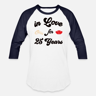 Silver Wedding Anniversary Shirt silver wedding anniversary married 25 years - Unisex Baseball T-Shirt