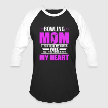Bowling Moms Full Heart Mothers Day T-Shirt - Baseball T-Shirt