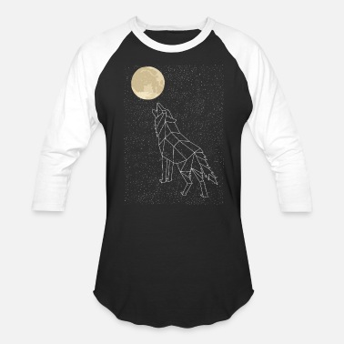 Constellation Wolf Howling At Moon Constellation - Baseball T-Shirt