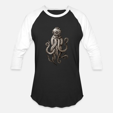 Dive Retro Fashion SCUBA Diver Weird Killer Octopus - Baseball T-Shirt