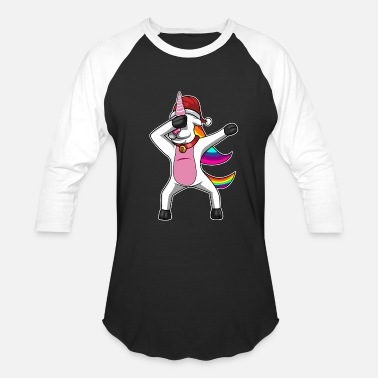 Unicorn DABBING UNICORN - DABBING CHRISTMAS UNICORN - Baseball T-Shirt