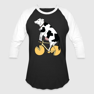 Cheese cow riding bike with cheese wheels - Baseball T-Shirt