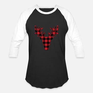 Plaid Christmas Buffalo Plaid Reindeer - Baseball T-Shirt