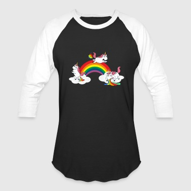 Farting Pooping Farting Pooping Puking Unicorn - Baseball T-Shirt