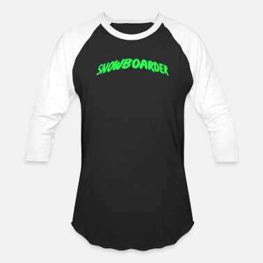 Curved Text Snowboarder Text curved green - Baseball T-Shirt