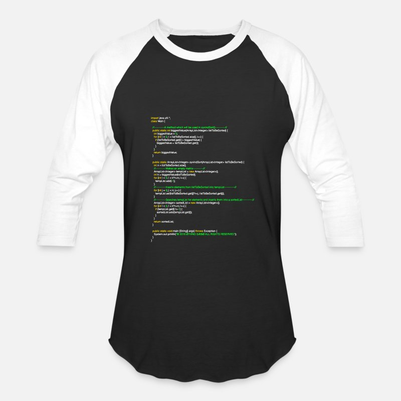 Java T-Shirts - oyvindSort() java code - Unisex Baseball T-Shirt black/white